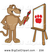 Big Cat Cartoon Vector Clipart of a Grinning Cougar Mascot Character Painting by Toons4Biz
