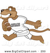 Big Cat Cartoon Vector Clipart of a Grinning Cougar Mascot Character Playing Football by Toons4Biz