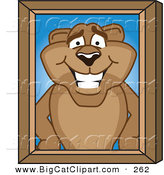 Big Cat Cartoon Vector Clipart of a Grinning Cougar Mascot Character Portrait by Toons4Biz