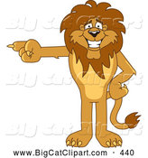 Big Cat Cartoon Vector Clipart of a Grinning Lion Character Mascot Pointing Left by Toons4Biz