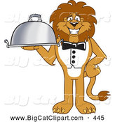 Big Cat Cartoon Vector Clipart of a Grinning Lion Character Mascot Serving a Platter by Toons4Biz