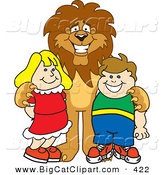 Big Cat Cartoon Vector Clipart of a Grinning Lion Character Mascot with Students by Toons4Biz