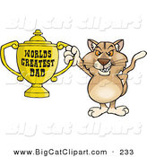 Big Cat Cartoon Vector Clipart of a Grinning Puma Wildcat Character Holding a Golden Worlds Greatest Dad Trophy by Dennis Holmes Designs