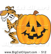Big Cat Cartoon Vector Clipart of a Grinning Tiger Character School Mascot with a Halloween Pumpkin by Toons4Biz