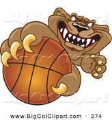 Big Cat Cartoon Vector Clipart of a Growling Cougar Mascot Character Grabbing a Basketball by Toons4Biz