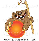 Big Cat Cartoon Vector Clipart of a Growling Cougar Mascot Character Grabbing a Hockey Ball by Toons4Biz