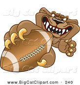 Big Cat Cartoon Vector Clipart of a Growling Cougar Mascot Character Grasping a Football by Toons4Biz