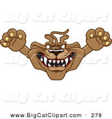 Big Cat Cartoon Vector Clipart of a Growling Cougar Mascot Character Leaping Outwards by Toons4Biz
