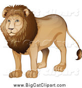 Big Cat Cartoon Vector Clipart of a Handsome Male Lion by Graphics RF