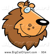August 14th, 2015: Big Cat Cartoon Vector Clipart of a Handsome Male Lion Face by Cory Thoman