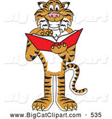 Big Cat Cartoon Vector Clipart of a Happy and Outgoing Tiger Character School Mascot Reading by Toons4Biz