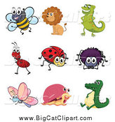 Big Cat Cartoon Vector Clipart of a Happy Ant Lion Chameleon Bee Ladybug Spider Butterfly Snail and Alligator by Graphics RF