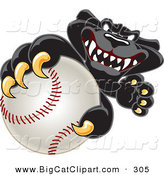 Big Cat Cartoon Vector Clipart of a Happy Black Jaguar Mascot Character Grabbing a Baseball by Toons4Biz