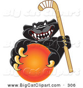 Big Cat Cartoon Vector Clipart of a Happy Black Jaguar Mascot Character Grabbing a Field Hockey Ball by Toons4Biz