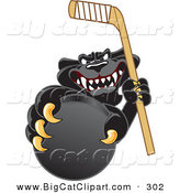 Big Cat Cartoon Vector Clipart of a Happy Black Jaguar Mascot Character Grabbing a Hockey Puck by Toons4Biz