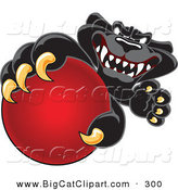 Big Cat Cartoon Vector Clipart of a Happy Black Jaguar Mascot Character Grabbing a Red Ball by Toons4Biz