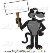 Big Cat Cartoon Vector Clipart of a Happy Black Jaguar Mascot Character Holding a Blank Sign by Toons4Biz