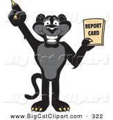 Big Cat Cartoon Vector Clipart of a Happy Black Jaguar Mascot Character Holding a Report Card by Toons4Biz