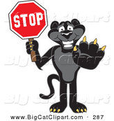Big Cat Cartoon Vector Clipart of a Happy Black Jaguar Mascot Character Holding a Stop Sign by Toons4Biz