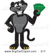 Big Cat Cartoon Vector Clipart of a Happy Black Jaguar Mascot Character Holding Cash by Toons4Biz