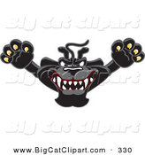 Big Cat Cartoon Vector Clipart of a Happy Black Jaguar Mascot Character Leaping by Toons4Biz
