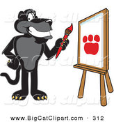 Big Cat Cartoon Vector Clipart of a Happy Black Jaguar Mascot Character Painting by Toons4Biz