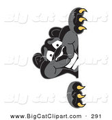 Big Cat Cartoon Vector Clipart of a Happy Black Jaguar Mascot Character Peeking by Toons4Biz