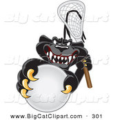 Big Cat Cartoon Vector Clipart of a Happy Black Jaguar Mascot Character Playing Lacrosse by Toons4Biz