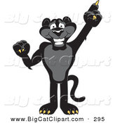 Big Cat Cartoon Vector Clipart of a Happy Black Jaguar Mascot Character Pointing up by Toons4Biz