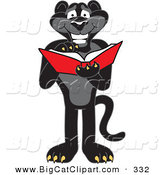 Big Cat Cartoon Vector Clipart of a Happy Black Jaguar Mascot Character Reading on White by Toons4Biz