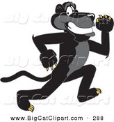 Big Cat Cartoon Vector Clipart of a Happy Black Jaguar Mascot Character Running by Toons4Biz