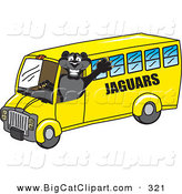 Big Cat Cartoon Vector Clipart of a Happy Black Jaguar Mascot Character School Bus Driver by Toons4Biz