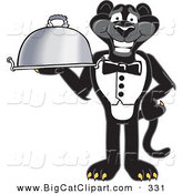Big Cat Cartoon Vector Clipart of a Happy Black Jaguar Mascot Character Serving a Platter by Toons4Biz
