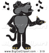 Big Cat Cartoon Vector Clipart of a Happy Black Jaguar Mascot Character Singing by Toons4Biz
