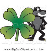 Big Cat Cartoon Vector Clipart of a Happy Black Jaguar Mascot Character with a Clover by Toons4Biz