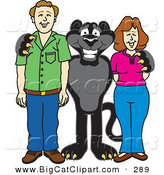 Big Cat Cartoon Vector Clipart of a Happy Black Jaguar Mascot Character with Adults by Toons4Biz