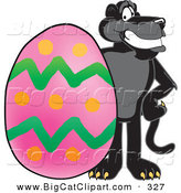Big Cat Cartoon Vector Clipart of a Happy Black Jaguar Mascot Character with an Easter Egg by Toons4Biz