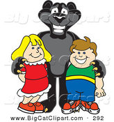 Big Cat Cartoon Vector Clipart of a Happy Black Jaguar Mascot Character with Children by Toons4Biz