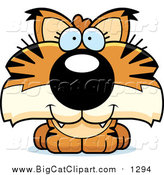 Big Cat Cartoon Vector Clipart of a Happy Bobcat Cub by Cory Thoman