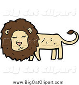Big Cat Cartoon Vector Clipart of a Happy Brown and Tan Lion by Lineartestpilot
