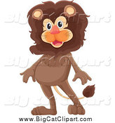 Big Cat Cartoon Vector Clipart of a Happy Brown Lion Standing by Graphics RF