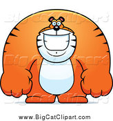 November 15th, 2014: Big Cat Cartoon Vector Clipart of a Happy Buff Huge Tiger Smiling by Cory Thoman