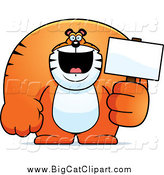 Big Cat Cartoon Vector Clipart of a Happy Buff Tiger Holding a Blank Sign by Cory Thoman