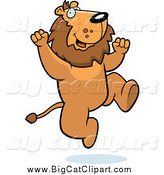 Big Cat Cartoon Vector Clipart of a Happy Cheering Lion Jumping by Cory Thoman