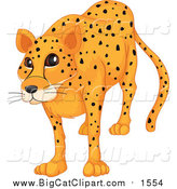 Big Cat Cartoon Vector Clipart of a Happy Cheetah by Graphics RF