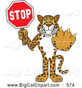 Big Cat Cartoon Vector Clipart of a Happy Cheetah, Jaguar or Leopard Character School Mascot Holding a Stop Sign by Toons4Biz