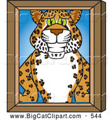 Big Cat Cartoon Vector Clipart of a Happy Cheetah, Jaguar or Leopard Character School Mascot Portrait by Toons4Biz