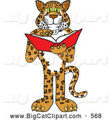 Big Cat Cartoon Vector Clipart of a Happy Cheetah, Jaguar or Leopard Character School Mascot Reading by Toons4Biz