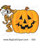 Big Cat Cartoon Vector Clipart of a Happy Cheetah, Jaguar or Leopard Character School Mascot with a Halloween Pumpkin by Toons4Biz