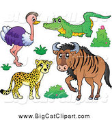 Big Cat Cartoon Vector Clipart of a Happy Cheetah Ostrich Crocodile and Wildebeest Savannah Animals by Visekart